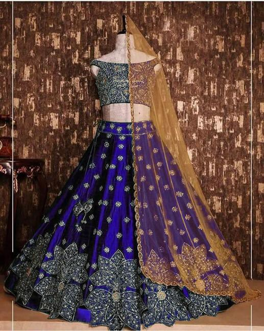 Surpassing Blue Colored Designer Tapeta Silk With Embroidered Work Party Wear Lehenga Choli-VT1159DVD9054B