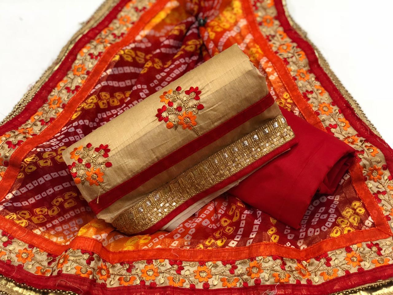 Golden Brown Beautiful Flower Embroidery Exclusive Designer Suit For Women