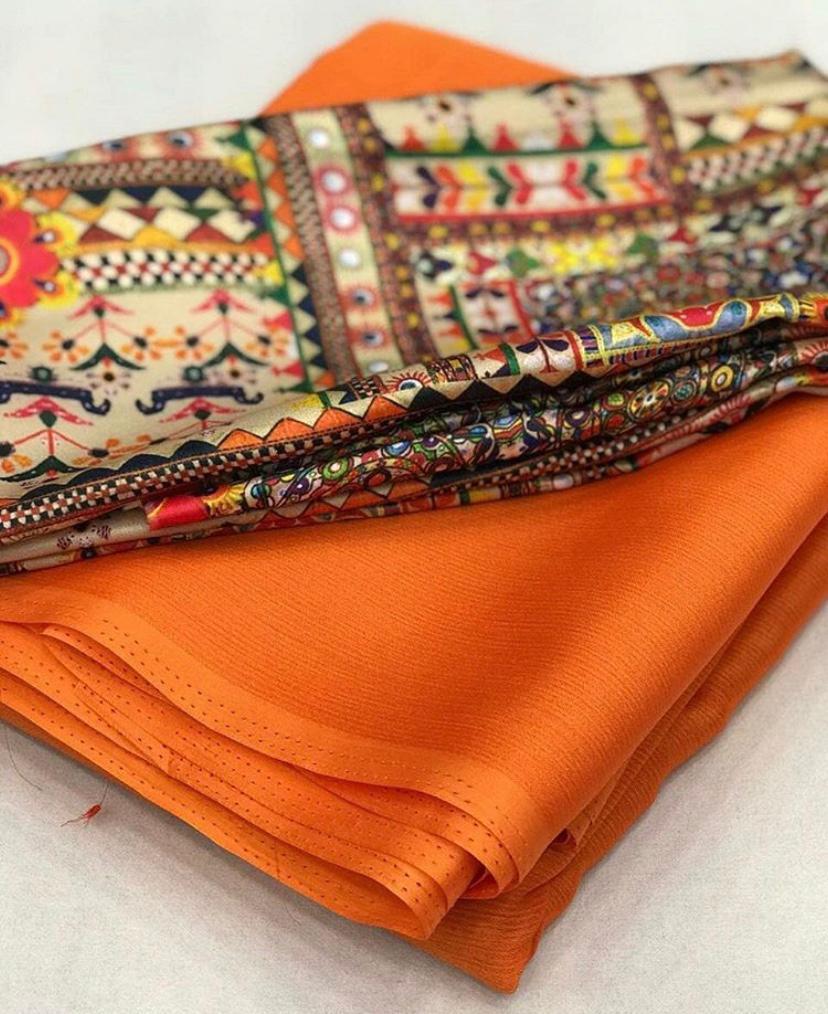 High Demanding Moss Chiffon Warmth Orange Plain Saree For Women