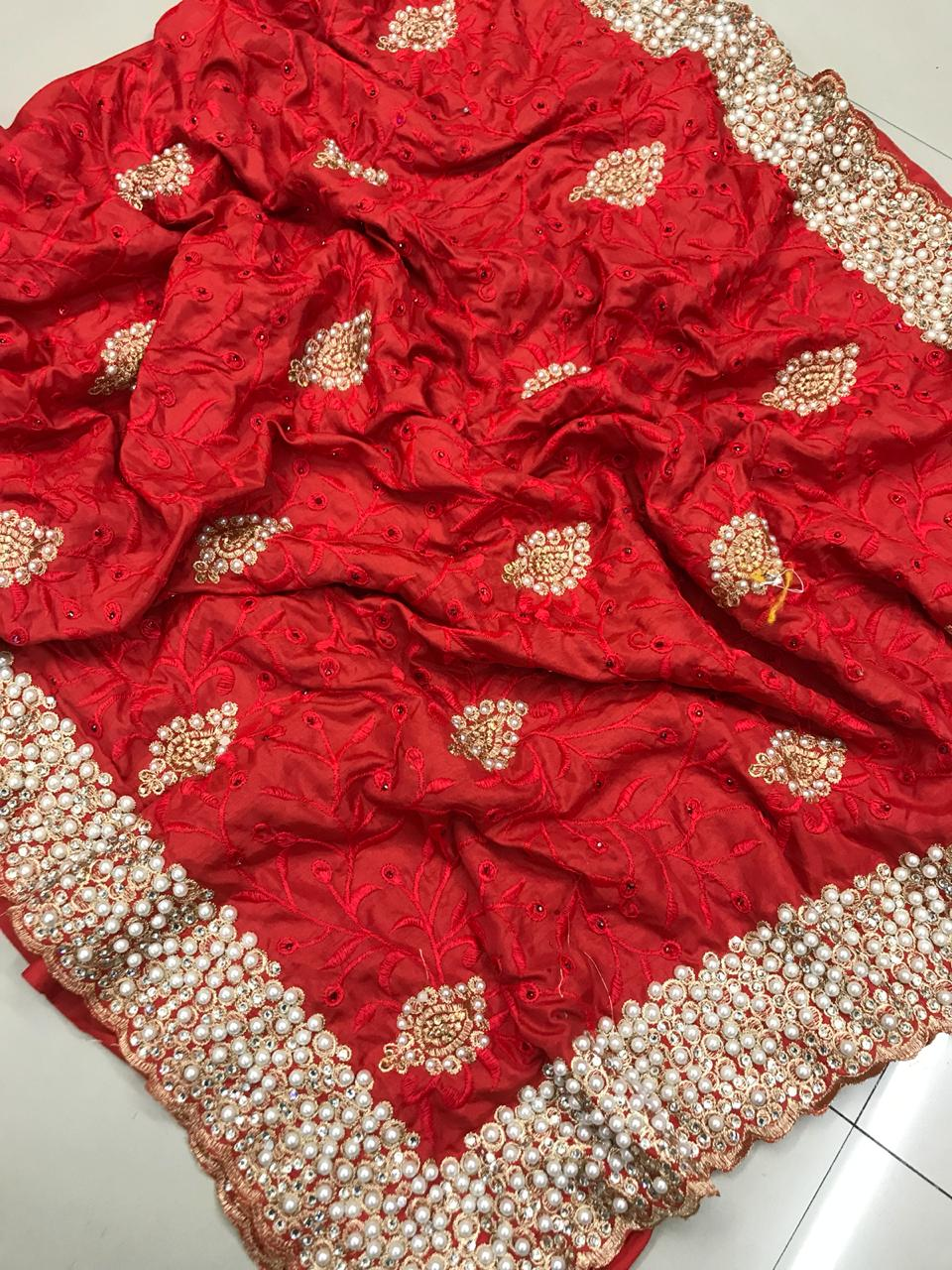 Red Colored Sana Silk Embroidered Saree