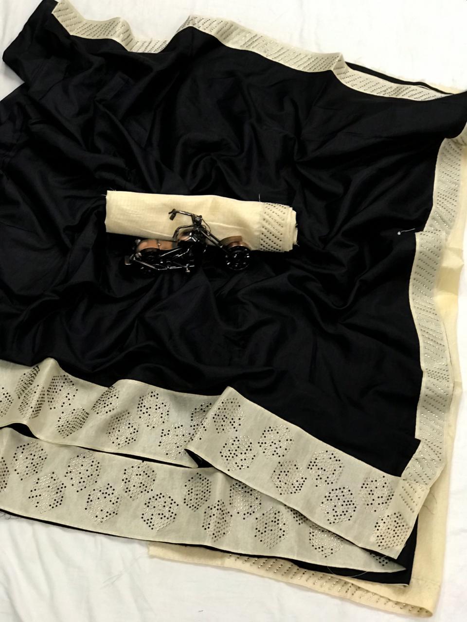Black Colored Sana Pure Silk Stone Work Saree