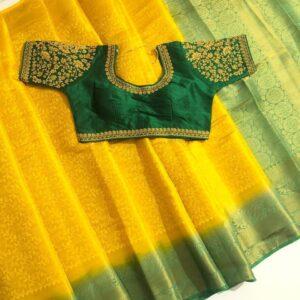 Bewildering Yellow & Green Nylon Silk Saree & Ready Made Blouse