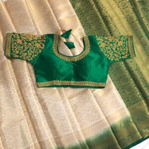 Startling Cream & Green Nylon Silk Saree & Ready Made Blouse