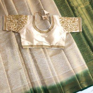 Perplexing Green & Cream Nylon Silk Saree & Ready Made Blouse