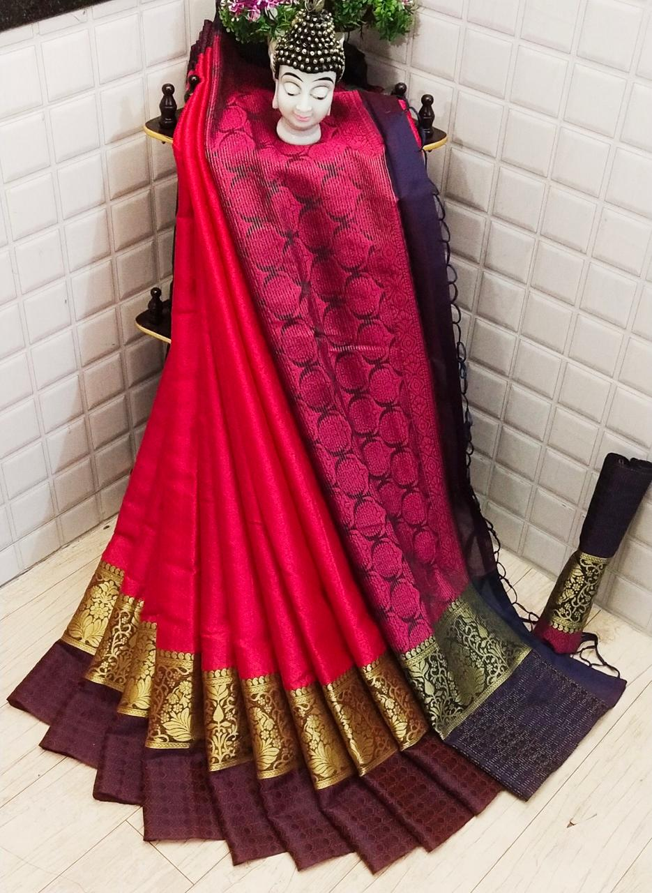 Astonishing Pink Colored Silk Saree With Blouse