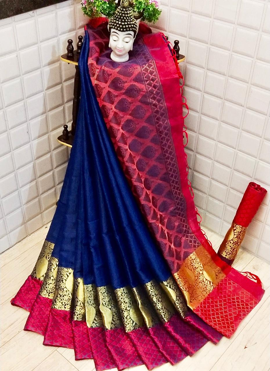 Surprising Royal Blue Colored Silk Saree With Blouse