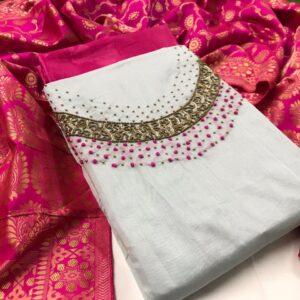 Pretty Cream & Pink Silk With Hand Work ladies salwar suit online