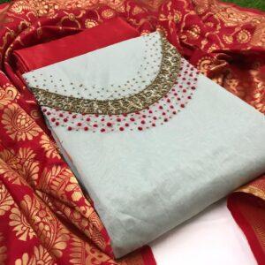 Sensational Cream & Red Silk With Hand Work ladies salwar suit online