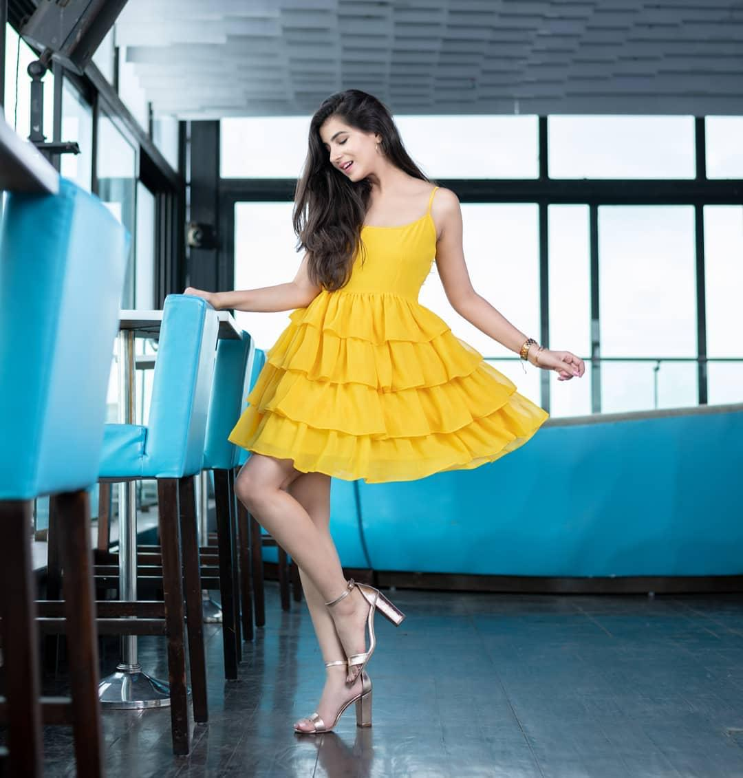Smashing Yellow Ruffle Georgette With Plain One Piece Gown