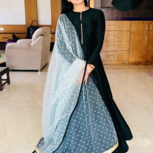 Comely Black Banglori Silk With Lining Gown