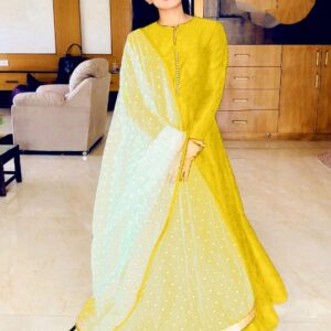 Pretty Yellow Banglori Silk With Lining Gown
