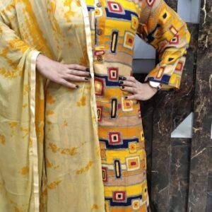Bootylicious Yellow Rayon Printed Full Stitched Plazo & Kurti