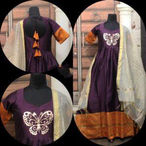 Fabulous Voilet Cotton Sartin With Zari Gotta Border Gown