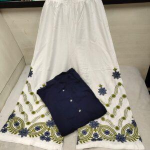 Party Wear Magnificent Navy Blue Rayon Shervani Style Plazo & Kurti