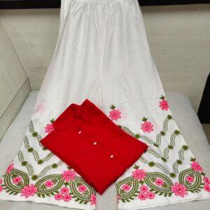 Party Wear Bewitching Impressive Red Shervani Style Rayon Kurti & Plazo