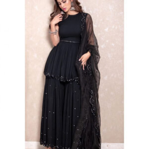 Party Wear Incredible Black Georgette With Embroidered Mirror Work Plazo & Kurti