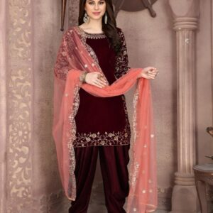 Party Wear Impressive Maroon Velvet With Embroidered Work Salwar Suit