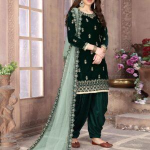 Party Wear Outstanding Dark Green Designer Velvet With Embroidered Work Salwar Suit