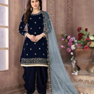 Party Wear Amazing Blue Velvet With Embroidered Work Salwar Suit