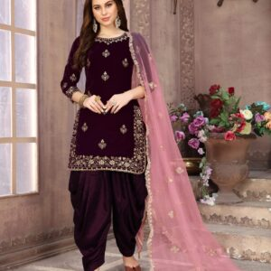 Party Wear Astonishing Wine Velvet With Embroidered Work Salwar Suit