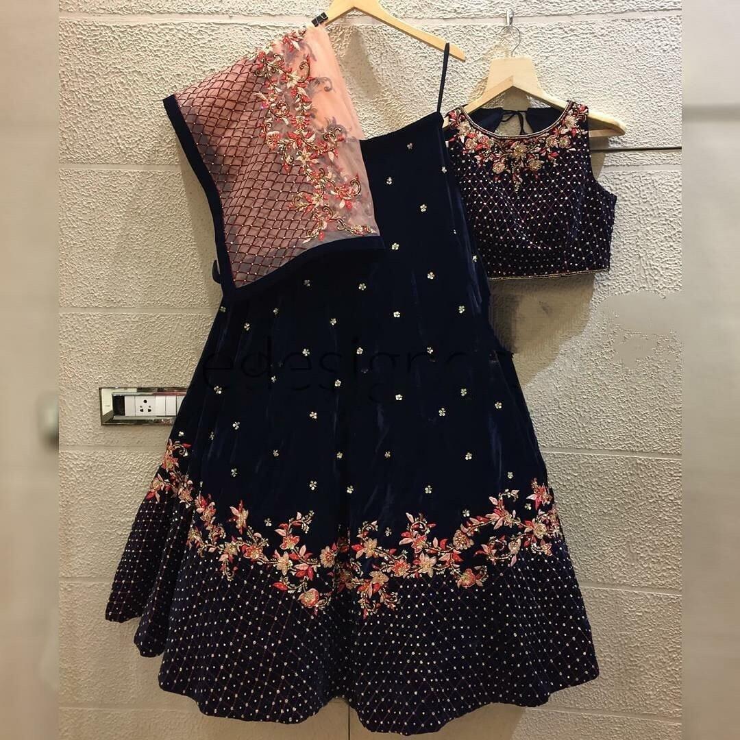Fabulous Navy Blue Velvet With Zari Thread Embroidered Work Lehenga Choli Design Online