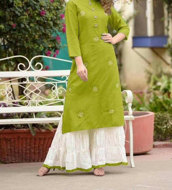Knockout Green Rayon With Embroidered Ready Made Plazo Kurti