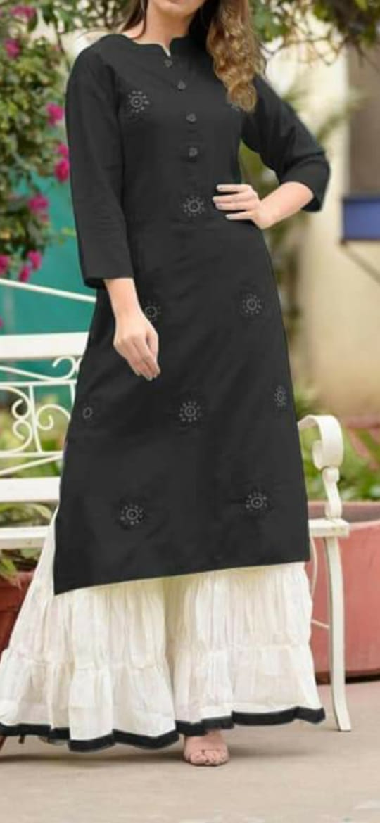 Beauteous Black Rayon With Embroidered Work Ready Made Plazo Kurti