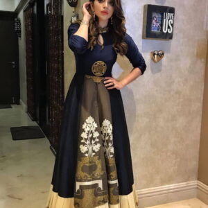 Lovely Taffeta Silk Embroidered Digital printed Semi Stitched Gown