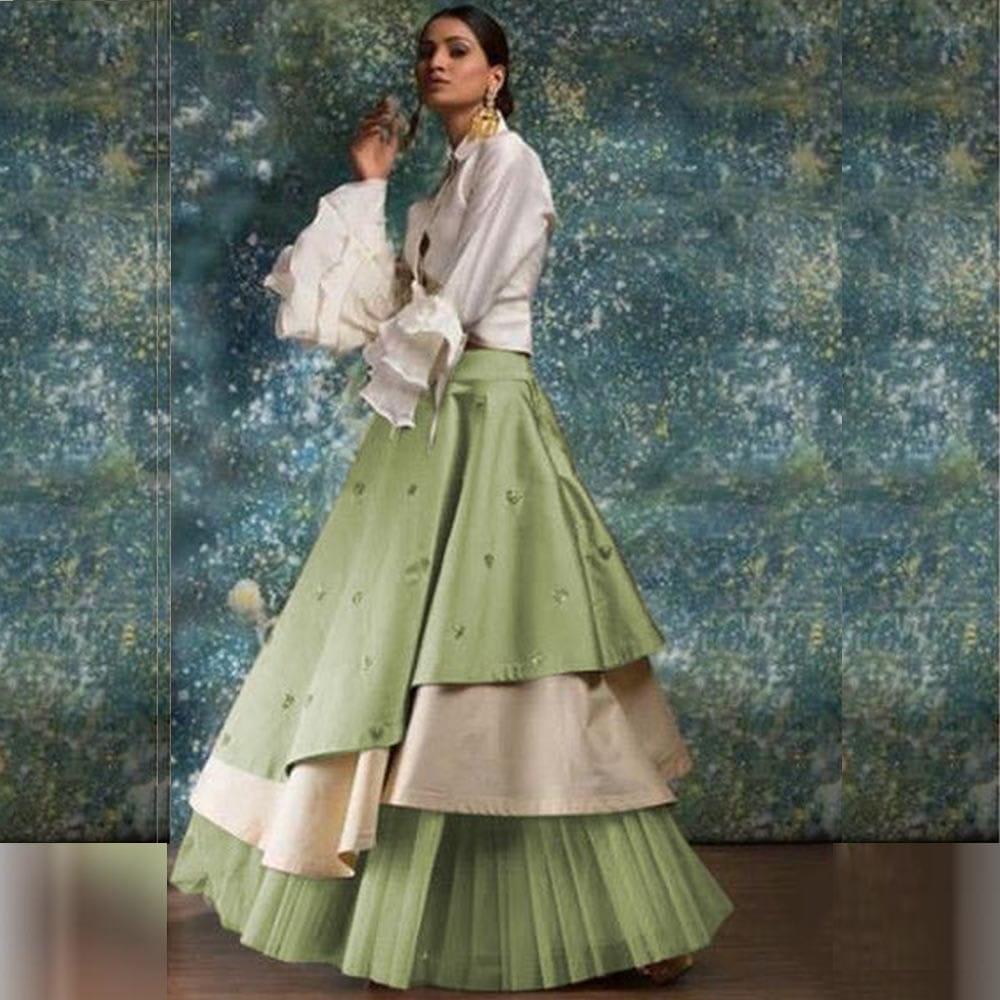 Comely Mint Green Taffeta Silk Raffle New Lehenga Choli Design Online