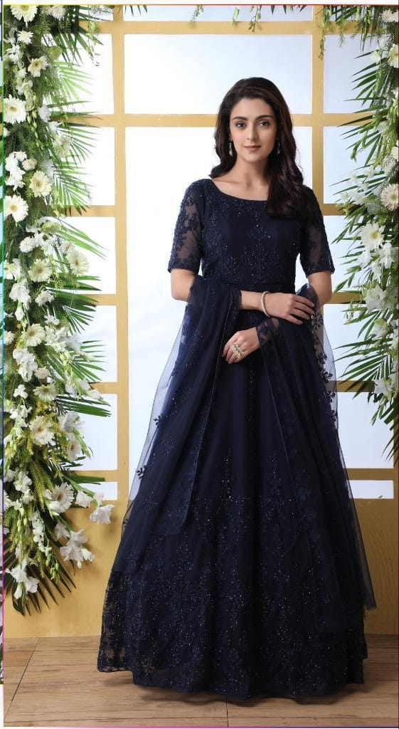 Smashing Navy Blue Net With Thread Embroidered Stone Pasting Gown