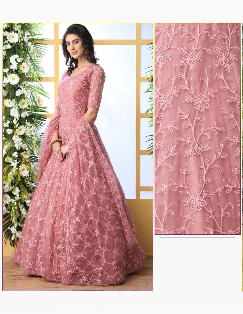 Beauteous Dusty Peach Net With Thread Embroidered Work Pasting Stone Gown