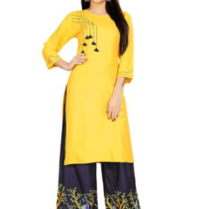 Dazzling Yellow Rayon WIth Embroidered Aari Work Kurti & Plazo