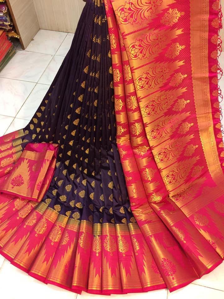 Outstanding Wine & Rani Nylon Silk With Rich Pallu fancy designer saree