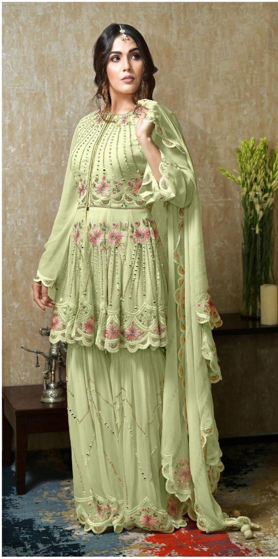 Radiant Light Green Georgette With Mirror Embroidered Work New Salwar suit design online