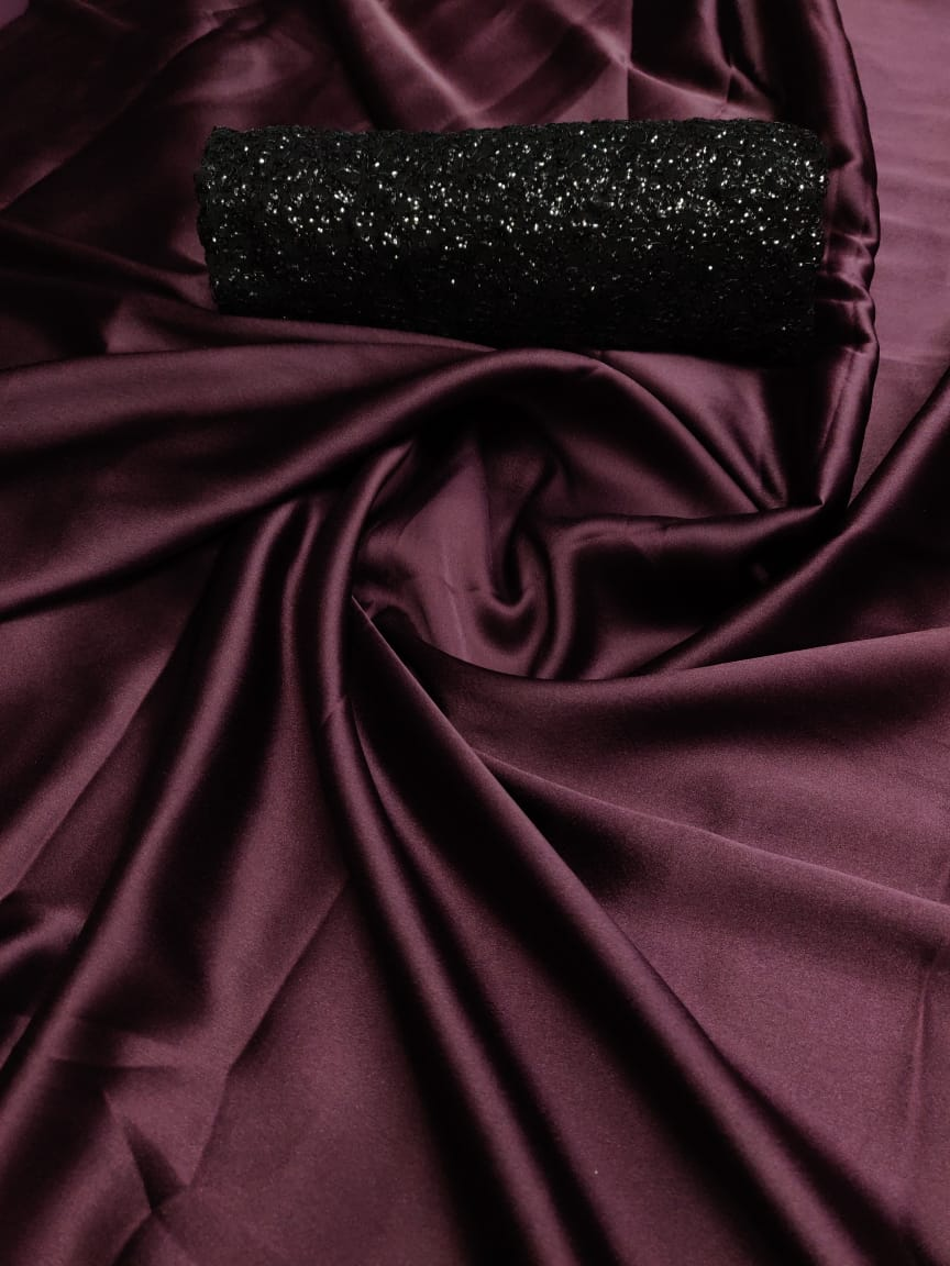 Devastating Wine Pure Satin Silk Designer Saree With Sequence Work Blouse