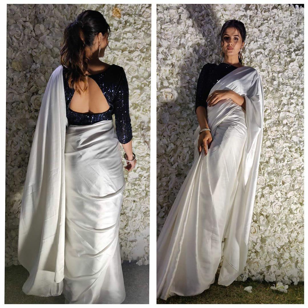Charming White Satin Silk Designer Saree With Sequence Work Blouse
