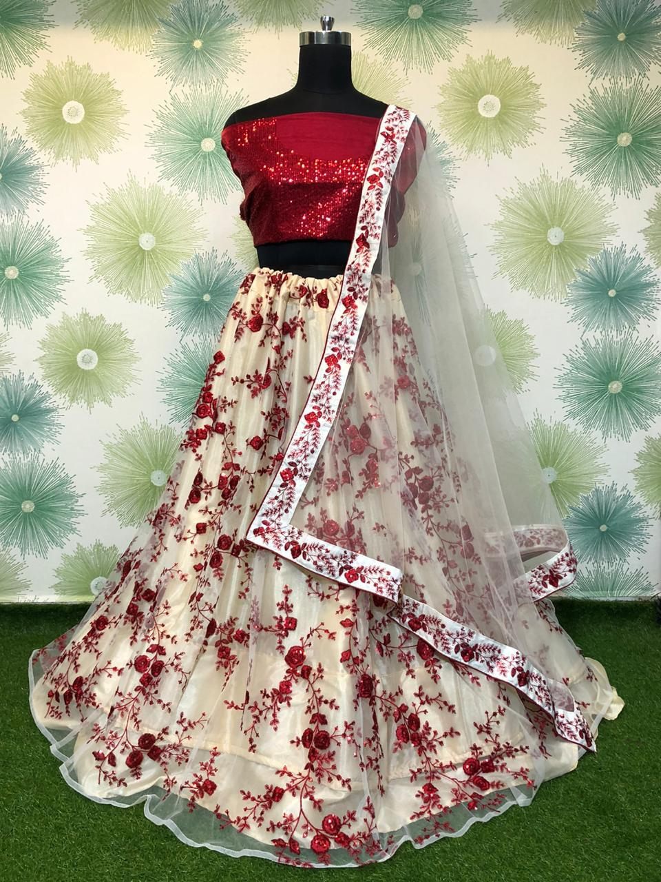 Charming Maroon Net With Embroidered Sequence Work Online Lehenga Choli Design