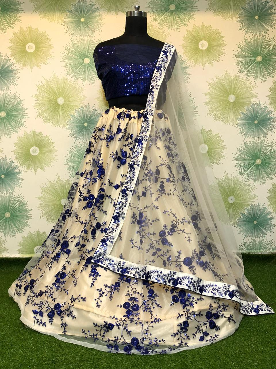 Alluring Navy Blue Net With Sequence Embroidered Work Online Lehenga Choli Design