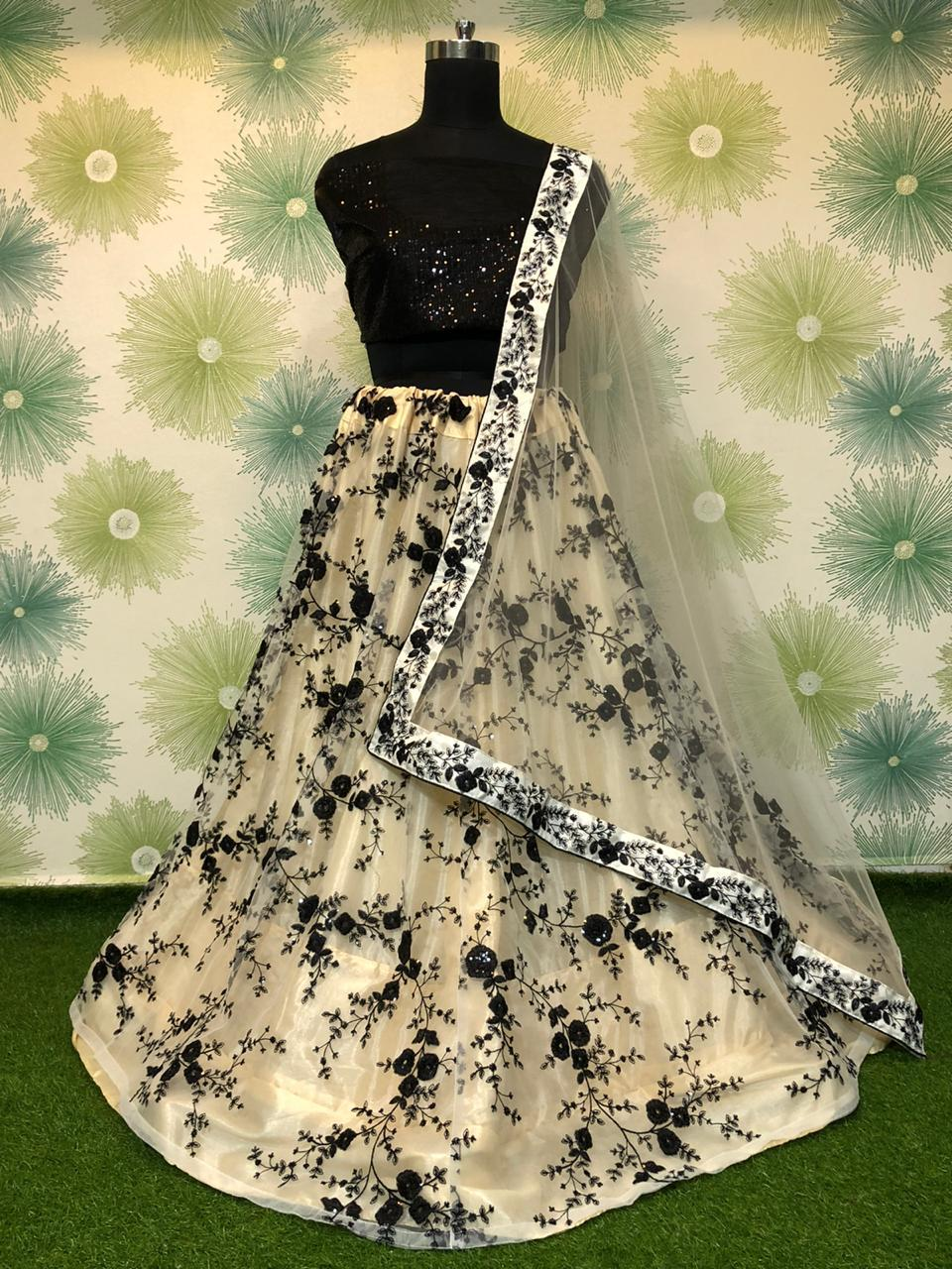 Exquisite Black Net With Embroidered Sequence Work Online Lehenga Choli Design