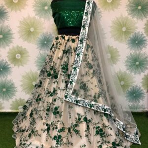 Gorgeous Green Net With Embroidered Sequence Work Online Lehenga Choli Design