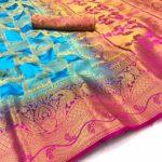 Pulchritudinous Firozi Silk With Rich Pallu Wedding Wear Saree