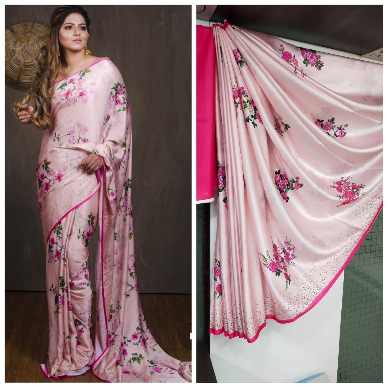 Remarkable Baby Pink Satin Silk Printed Designer Saree