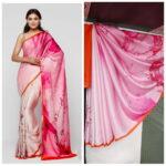 Staggering Pink Satin Silk Printed Designer Saree