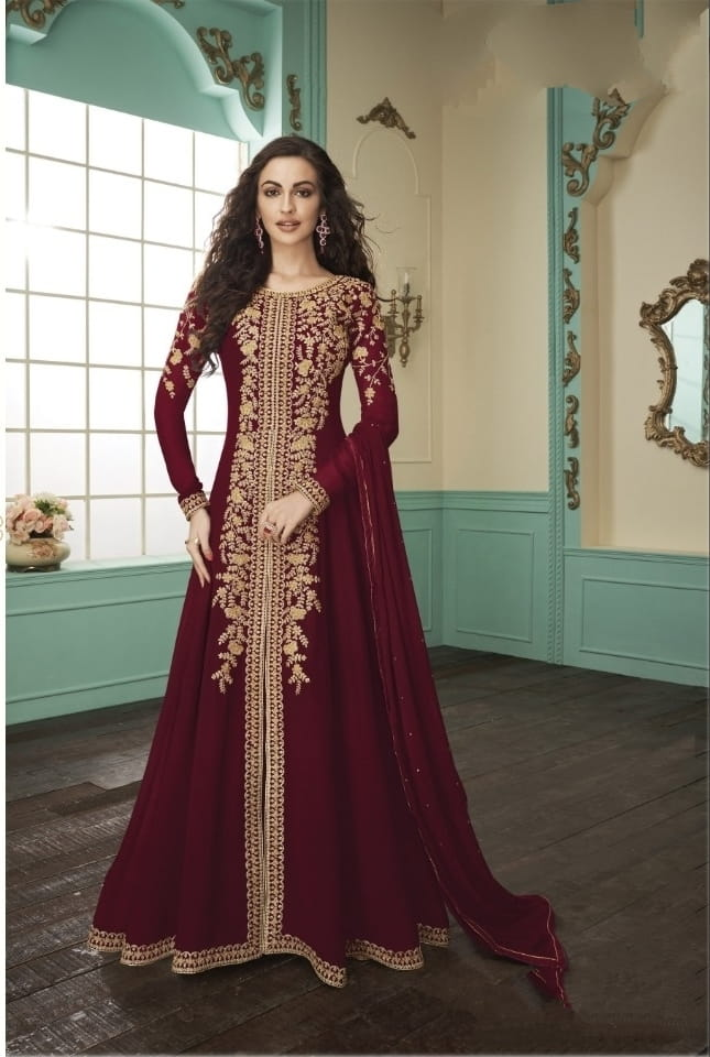 Smashing Maroon Georgette With Embroidered Work Salwar Suit