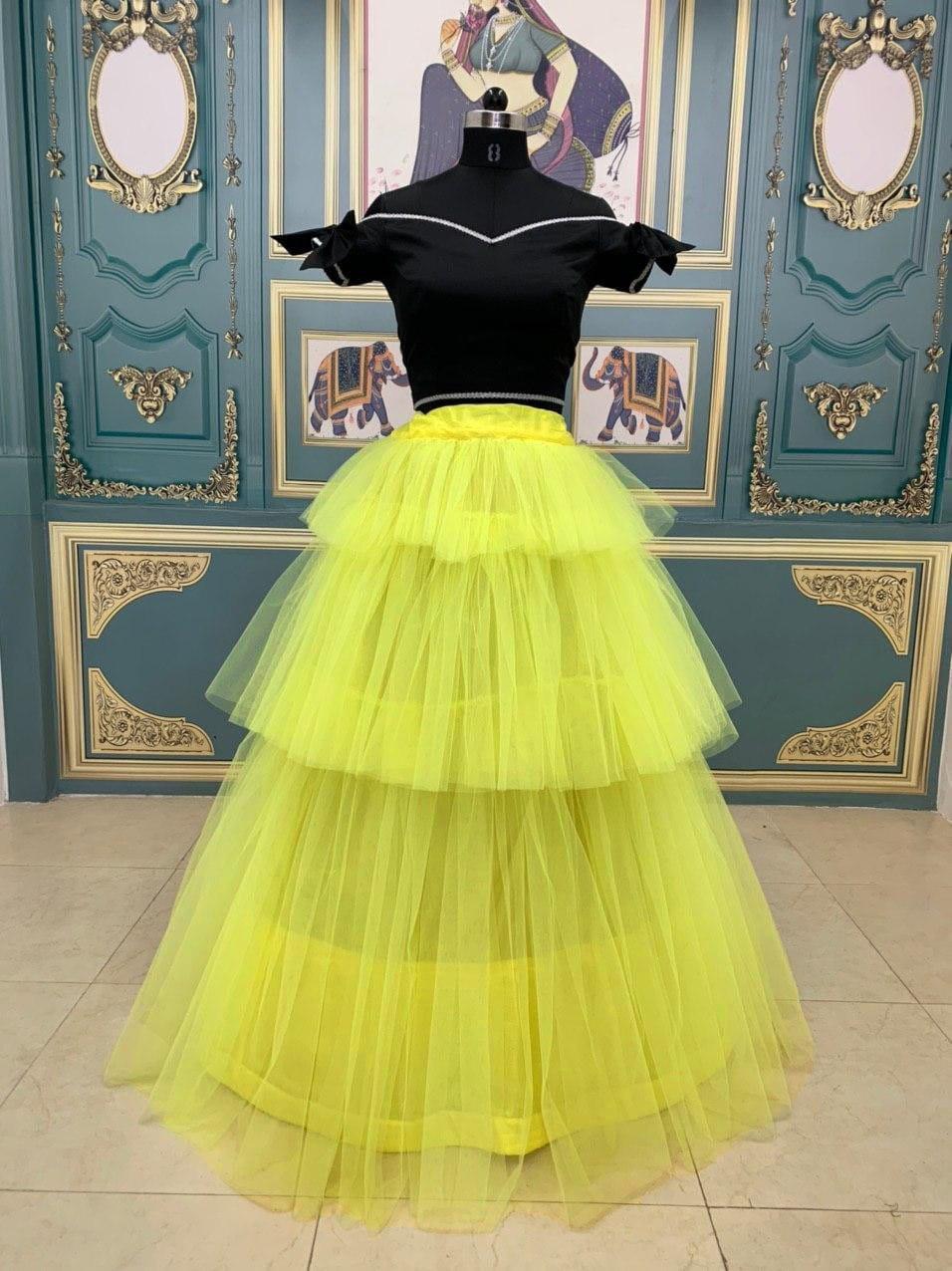Wonderful Black & Yellow Net Three Layers Crop Top Lehenga Choli