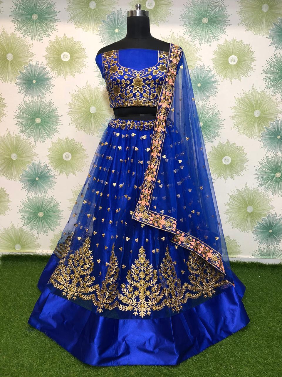 Charming Royal Blue Net With Embroidered Work Lehenga Choli