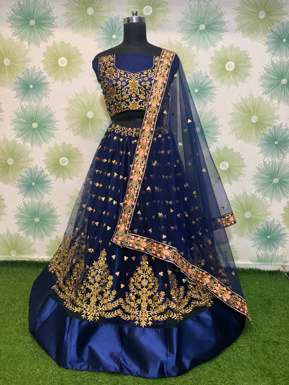 Alluring Navy Blue Net With Embroidered Work Lehenga Choli