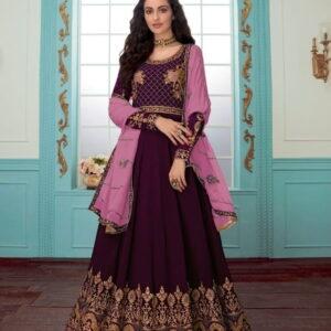 Extraordinary Wine Georgette Chine Stitch Work Suit Salwar Suit