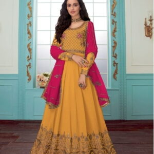 Astonishing Mustard Georgette With Chine Stitch Suit Salwar Suit