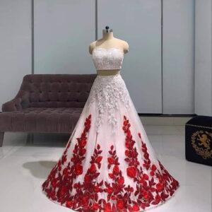 Fantastic Red & White Net With Chain Diamond Work Lehenga Choli